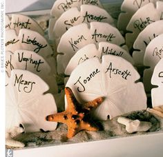 Great idea in lieu of place cards for a beach wedding.