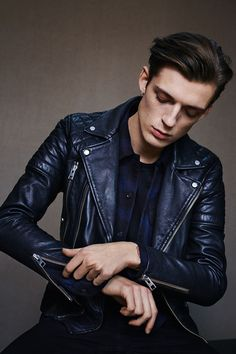 ALLSAINTS: Men's Lookbook 2015 January Cranleigh lthr biker