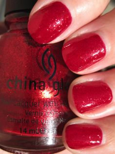 China Glaze, Ruby Pumps.  Somehow I have 2 of these.  I will either be trading one or save it for a give-away.