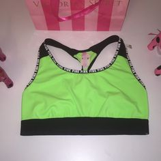 NEW PINK VS LOGO SPORT BRA NWT PINK VICTORIA'S SECRET PINK LOGO RACERBACK SPORT BRA  COLOR BLACK/GREEN SIZE L   FAST SHIPPING!!! ✅ Check out my other items! I am sure you will find something that you will love it! Thank you for watch!!!!! Be sure to add me to your favorites list! PINK Victoria's Secret Intimates & Sleepwear Bras