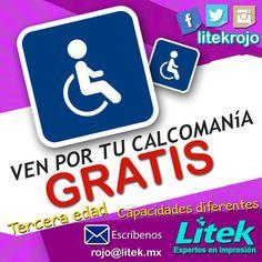 ¡Ven por la tuya completamente GRATIS! Sólo tienes que presentar la credencial que te da el derecho de usar estos estacionamientos!  siempre pensando en ti y en respetar el espacio que te mereces! #Litek #ExpertosEnImpresión #PiensaRojo — con Francisco Sanchez Farfan Litek.