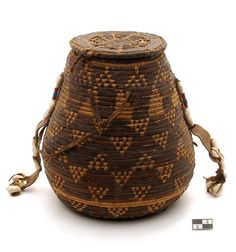 Africa | Leather, cowrie shell and glass bead basket from the Nubia region of Sudan | 2nd half of the 19th century