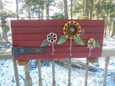 Primitive Reclaimed Wood Crate with Faucet Handle Flowers, Home Decor, Garden Decor, Folk Art, Reclaimed Materials, Upcycle, Recycle by Imperfetions on Etsy