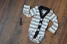 White and Grey Striped Cardigan - Baby Shower Gift - Woodland - Coming Home Outfit - Holiday Apparel - Outdoor Apparel - cardigan - little boys clothing - alpine baby co