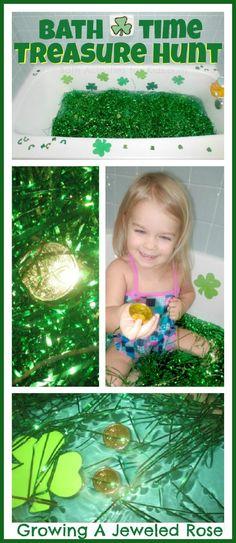 St. Patrick's Day treasure hunt in the bath! My kids had a blast!