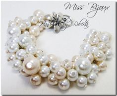 Ivory and white cluster bracelet, cream rhinestone bracelet, bridal bracelet, chunky bracelet, pearl Pearl Bracelet, Pearl Jewelry, Wedding Jewelry, Diy Jewelry, Chunky Jewelry, Flower Bracelet, Handmade Jewellery, Beaded Jewelry, Pearl Earrings