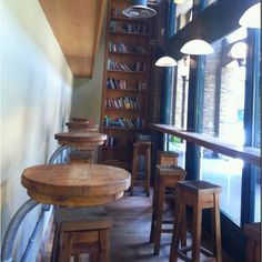 Stools and a small shelf by the windows