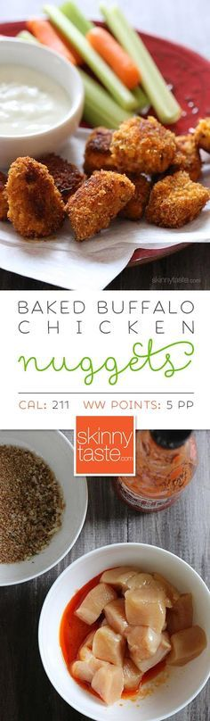 Baked Buffalo Chicken Nuggets. Love the extra pop of flavor from the hot sauce, but they still aren't too spicy.