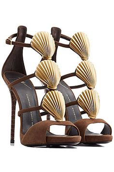 Coated with chocolate brown suede, Giuseppe Zanotti's stiletto sandals are embellished with metallic gold seashells down the front. A real statement pair for special occasions #Stylebop