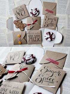 Gifts Wrapping & Package : DIY - Cookie Envelope Template Designs) - Free PDF Printable Great for adding to Christmas cards! Pretty Packaging, Gift Packaging, Diy Cookie Packaging, Packaging Design, Packaging Ideas, Homemade Gifts, Diy Gifts, Tarjetas Diy, Christmas Printables