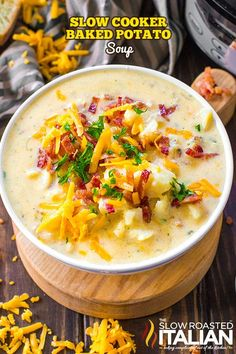Slow Cooker Potato Soup is easy recipe to make, creamy, thick and packing all the delicious flavors of a fully loaded baked potato!