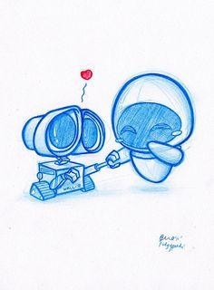 Really cute Wall-e and Eva fan art! Daily Doodle Wall-e! By PodgyPanda… Wall E, Wall Decals, Arte Disney, Disney Art, Disney Movies, Disney Magic, Disney Characters, Disney And Dreamworks, Disney Pixar