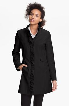 9526de77f0f DKNY Ruffle Front Walking Coat available at  Nordstrom Black Ruffle