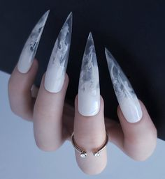 Plumes of white smoke in crystal clear acrylic Extra long stiletto shape pictured All orders include application instructions, file, orangewood stick and adhesive tabs Choose 'custom' from sizing menu if you'd like to send width measurem Marble Acrylic Nails, Acrylic Nails Stiletto, Best Acrylic Nails, Acrylic Nail Designs, Goth Nails, Aycrlic Nails, Goth Nail Art, Gorgeous Nails, Pretty Nails