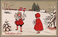 Glædelig Jul, ca 1919    Tittel / Title: Glædelig Jul, ca 1919    Motiv / Motif: Postkort / julekort.    Dato / Date: ca 1919    Kunstner / Artist: ukjent / unknown    Utgiver / Publisher: ukjent / unknown    Eier / Owner Institution: Nasjonalbiblioteket / National Library of Norway