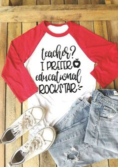 Teacher I Prefer Educational Rockstar Baseball T-Shirt - Teacher Shirts - Ideas of Teacher Shirts - Teacher I Prefer Educational Rockstar Baseball T-Shirt Teaching Shirts, Math Shirts, Teaching Outfits, Vinyl Shirts, Tee Shirts, Teaching Ideas, Baseball T Shirts, Cyber Monday, Boutique Fashion
