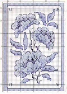 Schema punto croce Fiore Cinese2 Biscornu Cross Stitch, Cross Stitch Tree, Cross Stitch Fabric, Cross Stitch Cards, Cross Stitch Flowers, Cross Stitching, Cross Stitch Embroidery, Cross Stitch Patterns, Delft