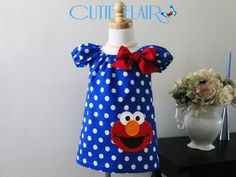 Elmo Girls Peasant Dress, Royal blue dots and red, boutique style, tunic toddlers, sundress, custom sizes 12m, 18m, 2t, 3t, 4t, 5T