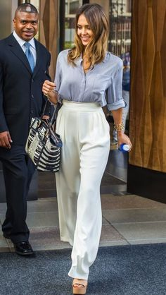 Jessica Alba in a Alice + Olivia Blouse and Max Mara Pants