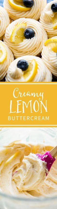 Easy creamy lemon buttercream frosting is so easy to make and pipe! Tastes best on lemon cupcakes! Recipe on sallysbakingaddiction.com