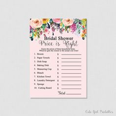 Pink Floral Printable Price is Right Game - Floral Bridal Shower Games - Price Is Right Bridal Game - Printable Bridal Shower Games 0001P