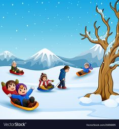 Happy kids playing sledding in snow Royalty Free Vector Fun Activities For Kids, Winter Activities, Painting For Kids, Drawing For Kids, Kids Playing In Snow, Ski Drawing, Frozen Background, Weather For Kids, Christmas Scenes