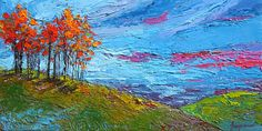 Painting - Autumn Sunset - Modern Impressionist Palette Knife Oil Painting by Patricia Awapara , Palette Knife, Artist Painting, Beautiful Paintings, Impressionist, Landscape Paintings, Oil On Canvas, Original Paintings, Scene, Design Inspiration