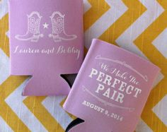 Wedding Koozies with a Pair of Cowboy Boots and Perfect Pair saying (100 qty)