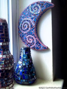 Stained Glass Mosaic Crescent Moon Wall by earthmothermosaics, $60.00