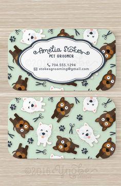 Pet Groomer Business Card 3.5 x 2 Custom Vertical by YnobeDesigns
