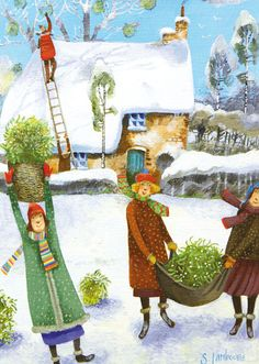 """Artist: Stephanie Lambourne English According to Stephanie: ( LINK ) """" My paintings are quirky, light-hearted and colourful,. Art And Illustration, Illustrations, Christmas Art, Winter Christmas, Winter Art, Naive Art, Typography Prints, Whimsical Art, Mistletoe"""