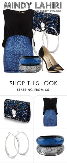 """""""The Mindy Project"""" by wearwhatyouwatch ❤ liked on Polyvore featuring Aspinal of London, Dorothy Perkins, Principles by Ben de Lisi, Nicholas King, C Label, hoop earrings, sequins, sequined dresses, big bangles and blue"""