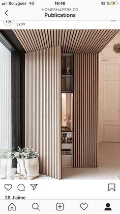 Light Architecture, Interior Architecture, Wood Slat Wall, Door Design, Wood Wall Design, Office Wall Design, Divider Design, Modern Interior Design, Diy Interior
