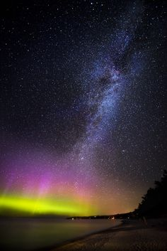 "el-mo-fo-to: "" c a e l u m | leland, michigan Northern Lights + Milky Way © Lorenzo Montezemolo [ instagram | tumblr | flickr | web ] """