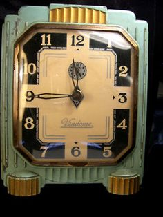 Vendome art deco alarm clock lux clock manufacturing company USA duplicate of my Dad's bedside alarm – art deco Art Nouveau, Radio Antigua, Retro, Antique Clocks, Vintage Clocks, Vintage Art, Mantel Clocks, Cool Clocks, Clock Art