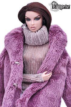 ELENPRIV lilac faux fur coat with full satin lining for Fashion royalty FR2 doll #Elenpriv