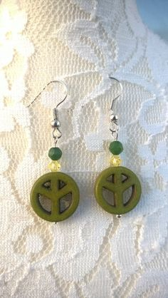 Howlite Green Peace Sign Earrings & Peridot by BySeodra on Etsy Designer Earrings, Peridot, Peace, Trending Outfits, Unique Jewelry, Handmade Gifts, Green, Etsy, Vintage