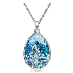 BLUE BUTTERFLY Mothers Day Gift Necklace Pendant W/ Authentic SWAROVSKI CRYSTAL   eBay