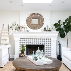Agadir White tile for fireplace!