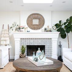 Agadir White tile for fireplace!