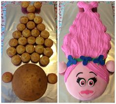 What an awesome idea for those who have a little one who absolutely loves Poppy from the movie Trolls. Lay cupcakes as shown. A 8 inch diameter cake pan was used for the face. Pull Apart Cupcake Cake, Pull Apart Cake, Cupcake Cakes, Cupcake Ideas, Kid Cakes, Troll Cupcakes, Fun Cupcakes, Birthday Cupcakes, Decorated Cookies