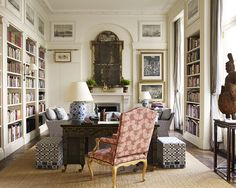 Stylish combination of library, sitting room and study