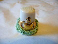 Thimble Porcelain Irish Dresden Ireland Green Lace Gold Claddagh   eBay
