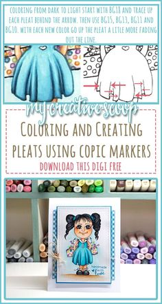 Creating and Coloring Pleats using Copic Markers + Free Digi Coloring Tips, Free Coloring Pages, Printable Coloring, Adult Coloring, Coloring Books, Hidrocor, Copic Markers Tutorial, Diy Holiday Cards, Colouring Techniques