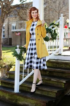 #Gingham dress, yellow coat, and heels! Super cute look from Bleu Avenue!