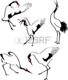 Illustration of crane standing on a cliff among blooming springtime trees - seasonal background with place for your text vector art, clipart and stock vectors. Sumi E Painting, Chinese Painting, Fabric Painting, Chinese Art, Japanese Crane, Japanese Art, Crane Drawing, Crane Tattoo, White Crane