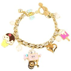 Betsey Johnson Candylane Toc Cotton Candy Bracelet ($59) ❤ liked on Polyvore featuring jewelry, bracelets, accessories, betsey johnson, jóias, charm bangle, gold tone jewelry, cotton jewelry and betsey johnson jewelry