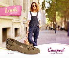 Macacão, jardineira, tanto faz! O importante é que este é um look confortável, despojado e combina com Campesí! Veja todas as nossas sapatilhas na loja virtual e escolha a sua!