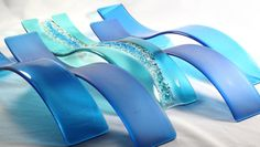 Fused Glass Wall Art Ocean Waves Set of 5 by JMFusions on Etsy