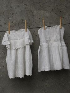 Laundry - frocks on the line. via Inspiration Lane Vintage Dresses, Vintage Outfits, Vintage Laundry, Baby Gown, Christening Gowns, Linens And Lace, Heirloom Sewing, Little Girl Dresses, Vintage Accessories